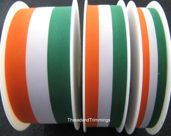 5m x Green/White/Orange Patriotic Ribbon 15mm / 25mm / 40mm