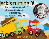 Construction Dump Truck Birthday Party Invitation: Printable 4x6 or 5x7