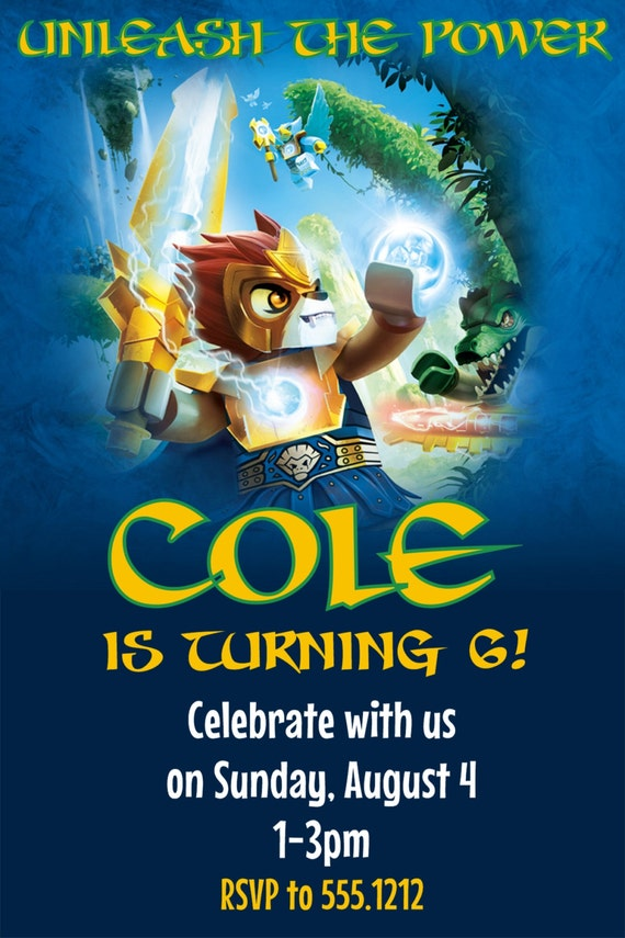 Legends of chima birthday party invitation printable 4x6 or 5x7