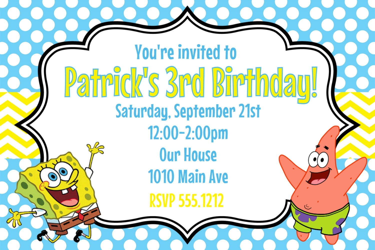 spongebob squarepants birthday party invitation printable x, party invitations