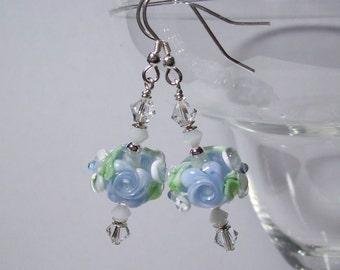 Blue Artisan Lampwork Earrings. Floral Lampwork, Swarovski Crystals, Sterling Silver. Special Occasion Earrings. Blue Wedding Earrings.