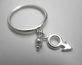 male symbol charm ring sterling silver and a tiny pearl