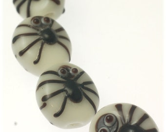 Handmade Lampwork Glass Beads -- Halloween Spiders (16)