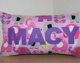 Elephants Name Pillow / Custom Kids Pillow / Name Pillow