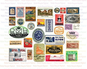 30 Vintage Luggage Labels - 1950 - Digital Image - Collage Sheet - Instant Download