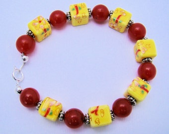 Bracelet, Beaded, Red,Yellow, Floral, For her