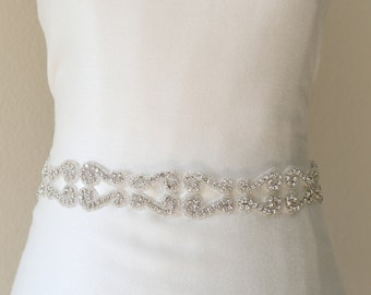 Bridal wedding sash belt crystal rhinestone beaded sash, bridal accessories, bridesmaid sash ribbon tie
