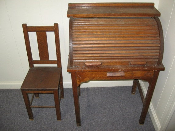 Childs Rolltop Desk And Chair Vintage Wooden Oak School