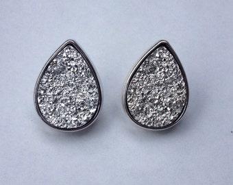 White Faux Druzy Post Earrings / Geode / Crystal / Stone / Stud Earrings / tear drop