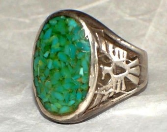PAWN NAVAJO THUNDERBIRD Ring Chip Turquoise Sterling Size 7
