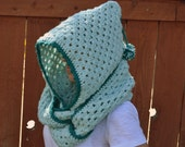 Crocheted mint green hooded cowl, scarf neck warmer, pixie hat