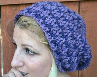 Sugar plum crocheted slouchy cloche hat, tam, boho,beanie