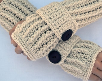 Warm oats arm warmers, fingerless gloves, texting gloves, crochet gloves, boho gloves, hand warmers, mittens, boho fashion, button gloves