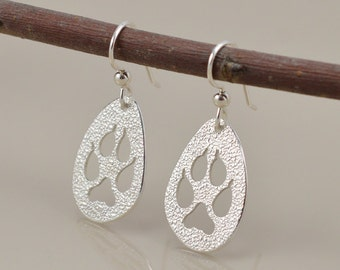 Red Fox Paw Print Earrings - Saw Pierced - Sterling Silver