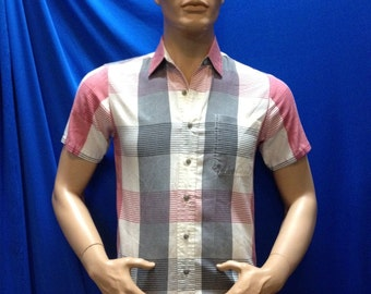 50s, 60s gray and pink well made plaid short sleeve shirt.