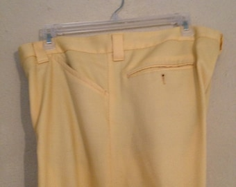 Retro yellow 70s polyester pair of men's double knit pant