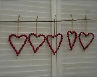 8 wooden beaded red heart ornaments, rustic wedding wooden heart ornaments with tags, valentines decor, wooden heart tags