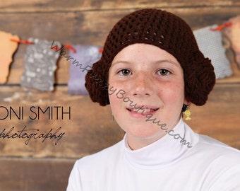 Star Wars Inspired Princess Leia Hat - Crochet Newborn Boy Girl Costume Halloween  Photo Prop Christmas Gift Winter Outfit