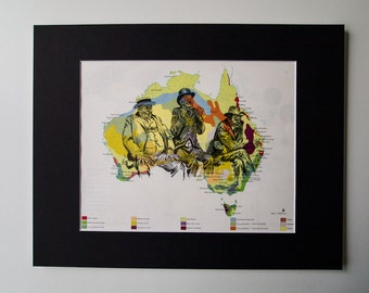 "mounted trio of old men map print on vintage australia map 11 x 14"", one of a kind"