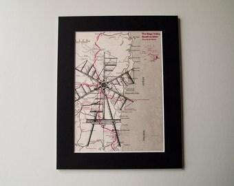 Vintage Map Print - Steampunk Windmill Art on Vintage Map of the NSW Coast, Australia 8 X 10""