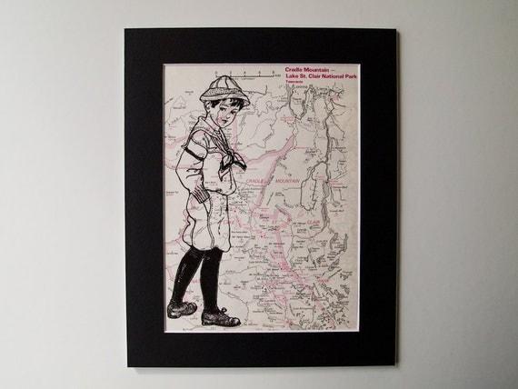 "Mounted Map Print - Boy Scout on Cradle Mountain in Tasmania, Australia Map - 8 x 10"""