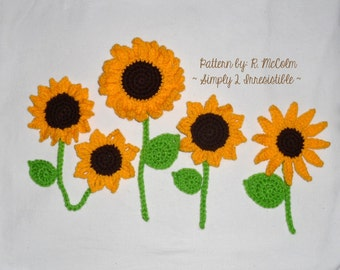 Sunflower And Leaves Pattern - Crochet Pattern 60 - US and UK Terms - Instant DOWNLOAD