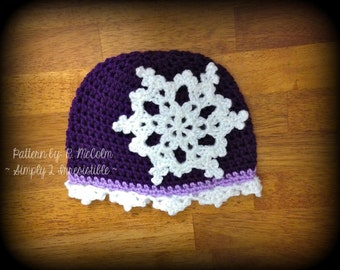 Snowflake Cloche - Crochet Pattern 17 - Cloche Pattern with Snowflake Trim - Newborn to Adult - INSTANT download, US and UK Terms