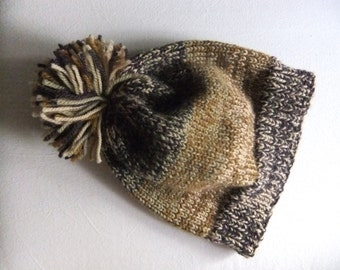 Hand Knitted Ombre Brown, Green, Beige, Gold Wool Unisex Hat