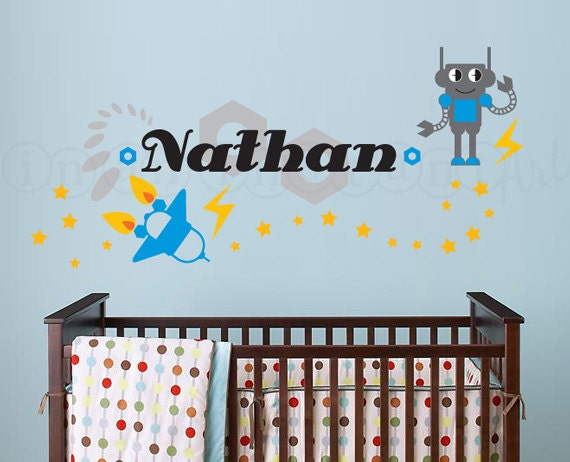 Robot, Rocket and Custom Name Vinyl Wall Decal for Nursery, Kids, Childrens Room 059