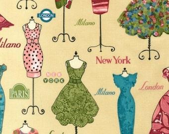 "Last 28"" REMNANT - Robert Kaufman - Dress Up 2 - Vintage Dress Mannequins - Creamy Yellow"