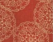 Saffron Red and Ivory Suzani Curtain Panels / Custom Designer Drapery