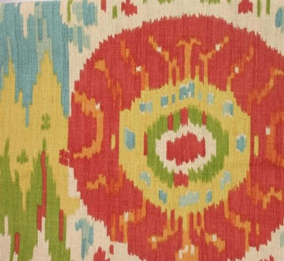 Red Green Blue Yellow And Ivory Ikat Curtain By Stitchandbrush