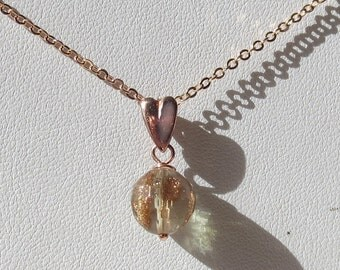 Golden Quartz 10mm Round Pendant with Coppery Rose Gold Plated Fine Gauge Chain