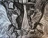 Goat Friends hand pulled linocut by Cynthia Cratsley Harrington