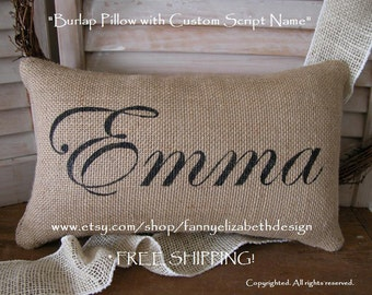 Burlap Name Pillow FREE SHIPPING- Burlap Pillows-Burlap Pillow-Baby Shower Gift- Nursery- Name Pillow- Personalized Pillow- Baby Gift