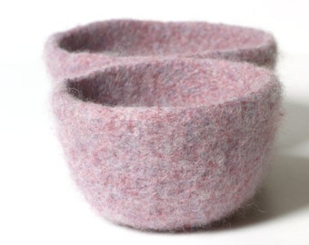 WOOLY FELTED BOWLS - two felted nesting bowls - lilac, rosewood, lavender