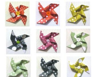 Paper Pinwheels - Polka-Dot & Stripes SET of 12 (Great for Cupcake Toppers or Pinwheel Bouquet)