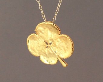 Real Gold Four Leaf Clover Necklace