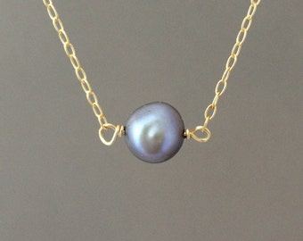 Gray Freshwater Pearl Necklace in both gold fill and sterling silver