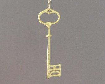 SALE Gold Long Key Necklace