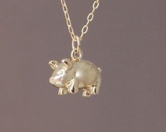 Gold 3D Pig Necklace