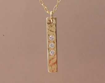 Three Crystal Gold Vertical Bar Necklace also in Silver