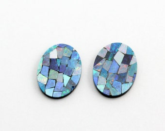 Opal Mosaic, Size 16x12mm Oval, 2 Stones, Natural Australian Opal with black Onyx back