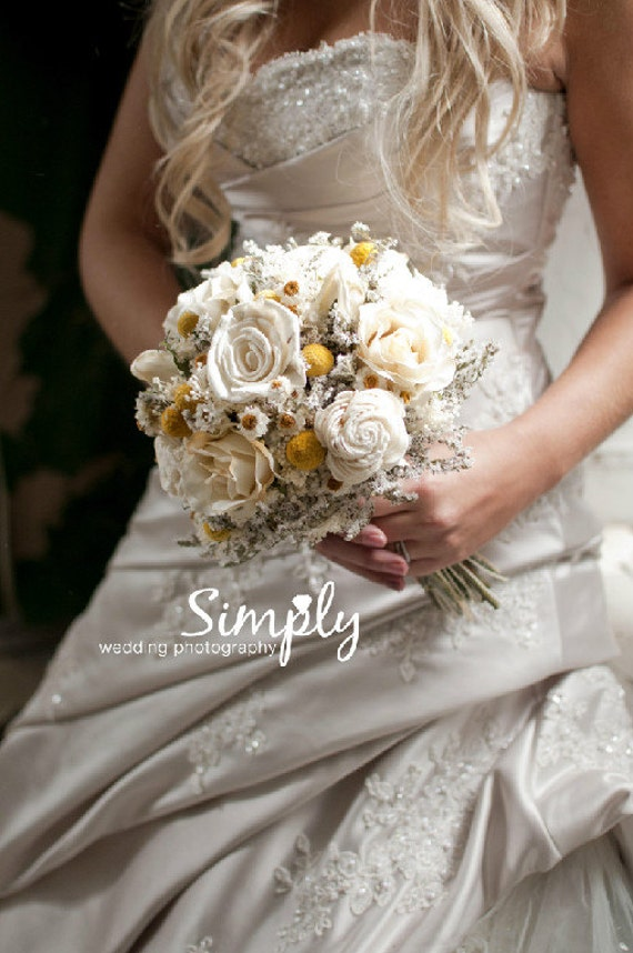 Simply Sola Flower Bride Bouquet with Dried Flowers Silk Roses and Craspedia Made to Order