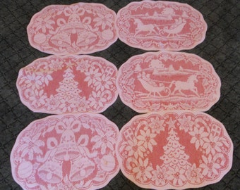 Vintage Christmas Placemats Red Lace Christmas Table Decor Set of 6 Holiday Doily Placemats