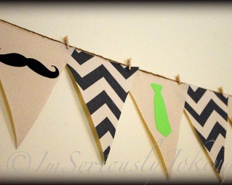 Mustache and Tie Banner-Mustache Banner-Party Banner-Little Man Party-Bunting-Gray Chevron- Little Man Party- Little Man- Mustache Party