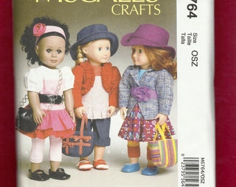 McCalls 6764 Chic Outfits for Very Hip Dolls  By Laura Ashley Size 18 Inch Dolls UNCUT