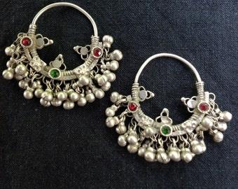 REDUCED Old Indian Tribal Silver Hoop Bell Earrings
