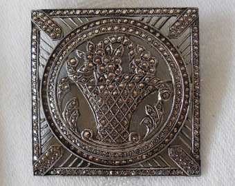 Reticulated Marcasite Brooch Sparkly Sterling Square Floral Bouquet