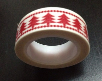 HOLIDAY SALE - A Roll of Red Christmas Tree Deco Sticky Paper Washi Masking Tape